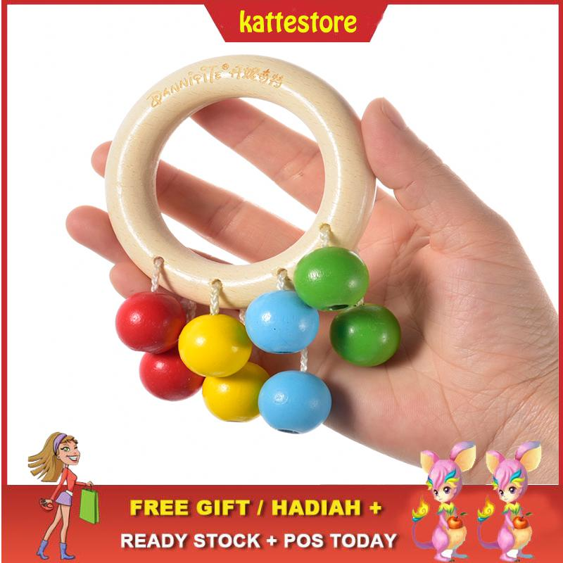 READY STOCK😱Wooden Colorful Beads Baby Toy Round Circle Teeth Training