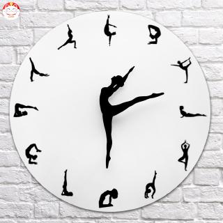 ✂GT⁂ Yoga Postures Wall Clock Fitness Flexible Girl Silent Modern Clock Home Office Decor