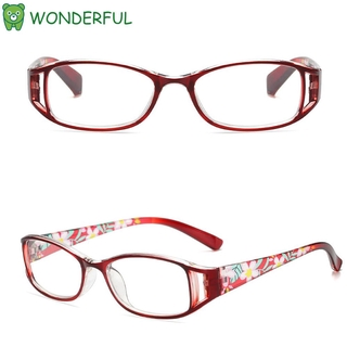 WONDERFUL Fashion Reading Glasses Elegant Eye Protection Anti-Blue Light Eyeglasses Women Portable Flowers Comfortable Vintage Ultra Light Frame Purple/Purple/Black