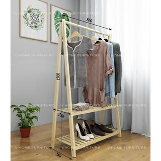 Kệ , giá treo quần áo gỗ chữ A – 2 tầng
