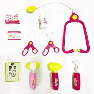Bộ Đồ Chơi Bác Sĩ - Màu Hồng Có Đèn Báo SP làm từ nhựa nguyên sinh an toàn