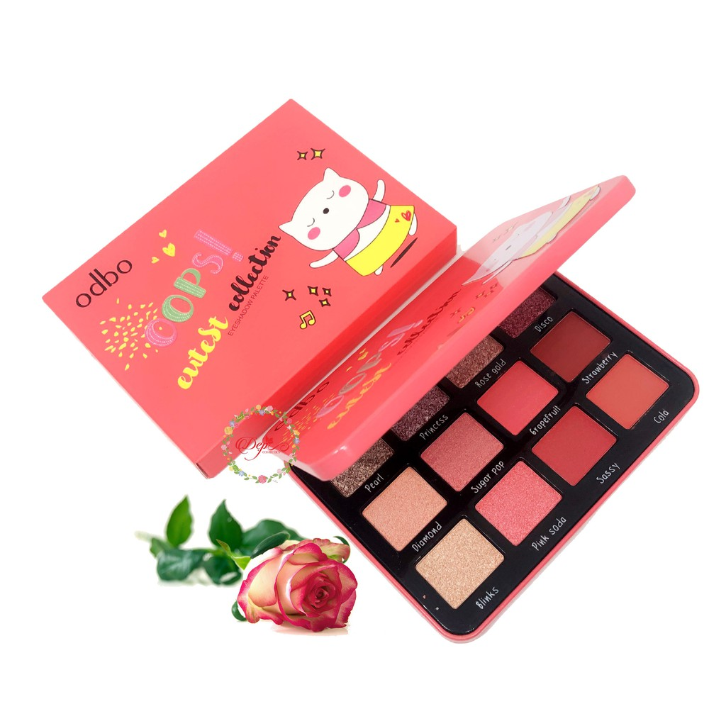 BẢNG PHẤN MẮT ODBO OOPS CUTIEST COLLECTION EYESHADOW PALETTE OD212 PINK TONE MÀU NUDE HỒNG NHŨ