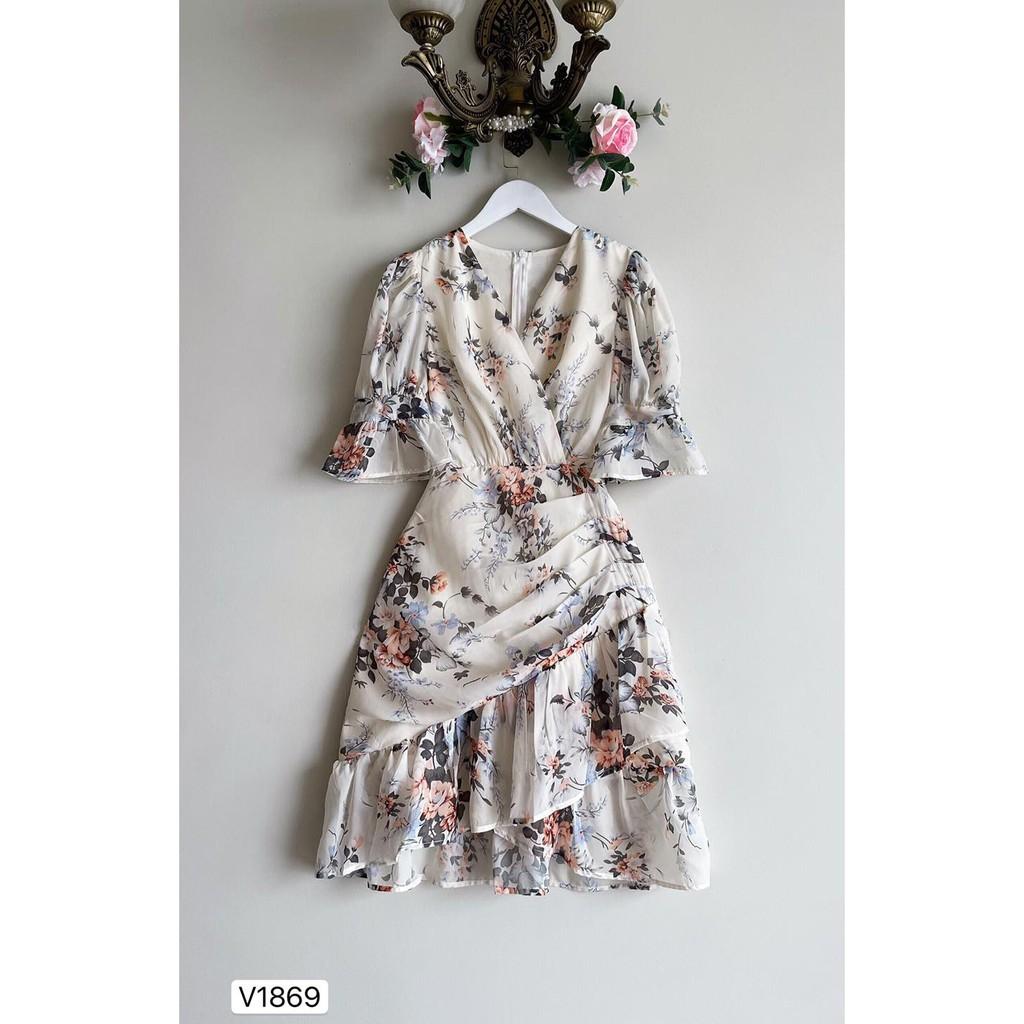 Mặc gì đẹp: Tung bay với Đầm hoa váy xoè dự tiệc thiết kế đuôi cá sang chảnh chất liệu voan tơ 2 lớp dáng tầng tay lở cao cấp - Hia Clothing