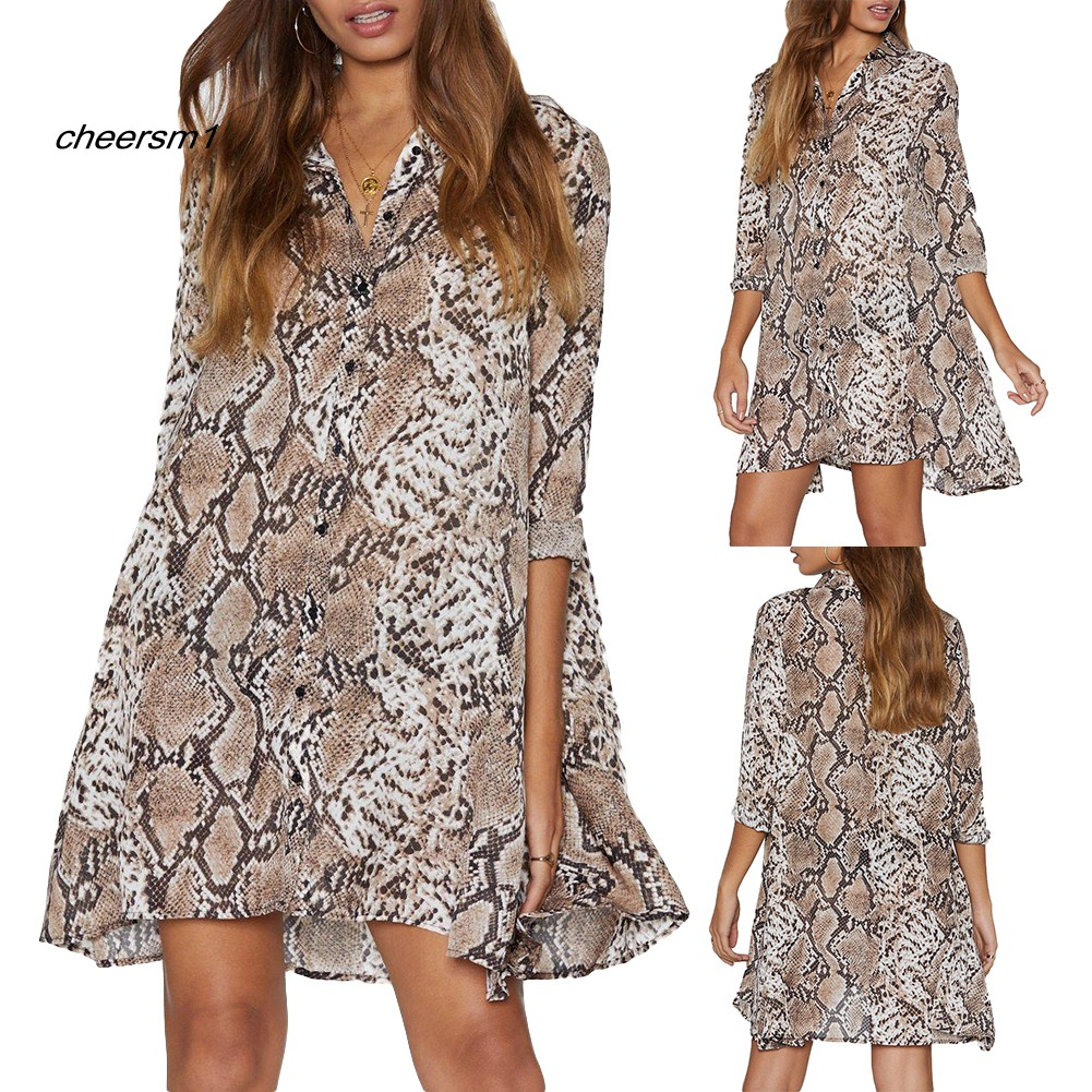 CHE♥Party Club Casual Women's Snakeskin Print V Neck 3/4 Sleeve Loose Mini Dress