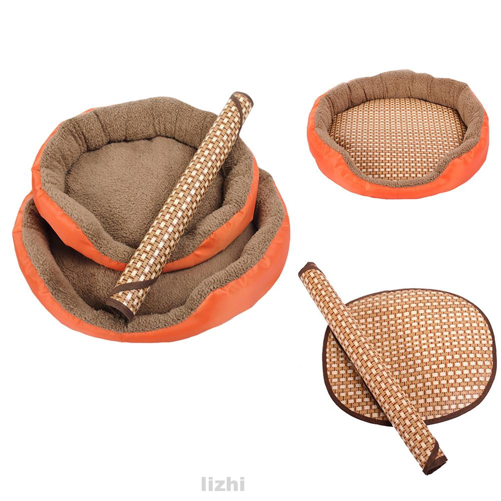 Dog Pet Breathable Sleeping Mat Bed Puppy Cat Doggie Cooling Pad Cushion Oval Grid Bamboo Mats