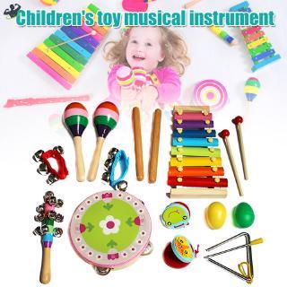 LL 1 Set Musical Instrument Toy Xylophones Tambourine Grip Bells Kit for Children Kids @VN