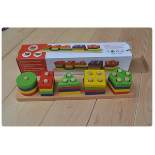 Đồ chơi- Thả hình gỗ 5 trụ 11