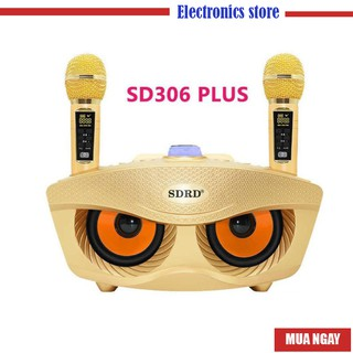 Loa Bluetooth karaoke SDRD SD 306 Plus bản 2020 đa năng, Loa kèm 2 micro hát karaoke Không dây- Phiên Bản Nâng Cấp lọc
