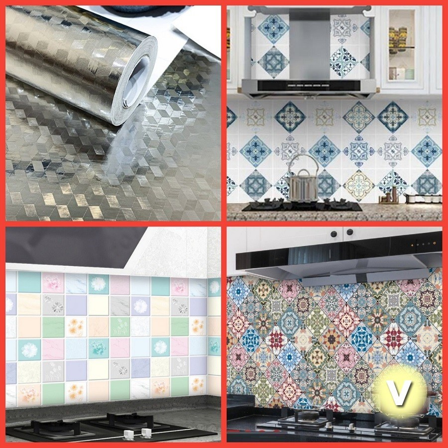 [CHỌN NHIỀU MẪU] 3 mét Decal dán bếp, giấy dán bếp tráng nhôm chịu nhiệt khổ 60cm