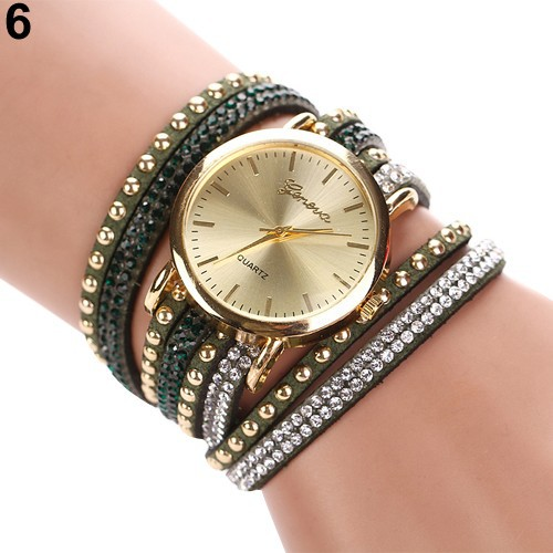 Đồng hồ Geneva dây đeo da lộn đính đá