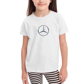 Áo thun Cotton ngắn tay cổ tròn in logo Mercedes-Benz thời trang cho bé