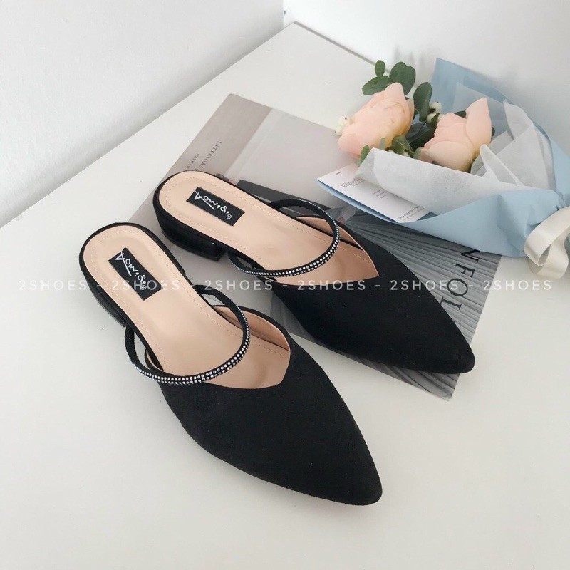 (freeship)giày sục nữ phối đá quai trên tạo điểm nhấn