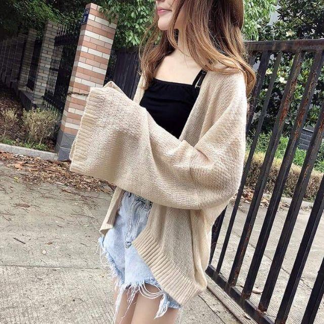 Áo cadigan len mỏng chất dệt kim tay rộng cực xinh