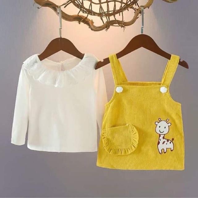 Set Yếm nhung + áo xinh xắn cho bé từ 8 - 18kg