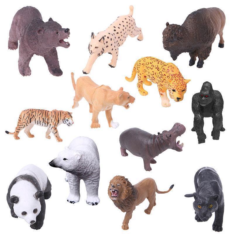 12pcs Zoo Animal Figure Model Plastic Tiger Leopard Hippo Giraffe Kid Toy decor