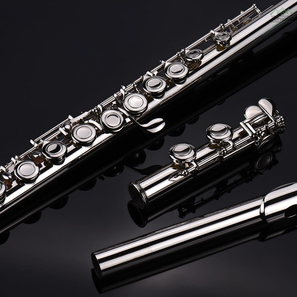 ★Western Concert Flute Silver Plated 16 Holes C Key Cupronickel Woodwind Instrument with Cleaning Cloth Stick Gloves Min