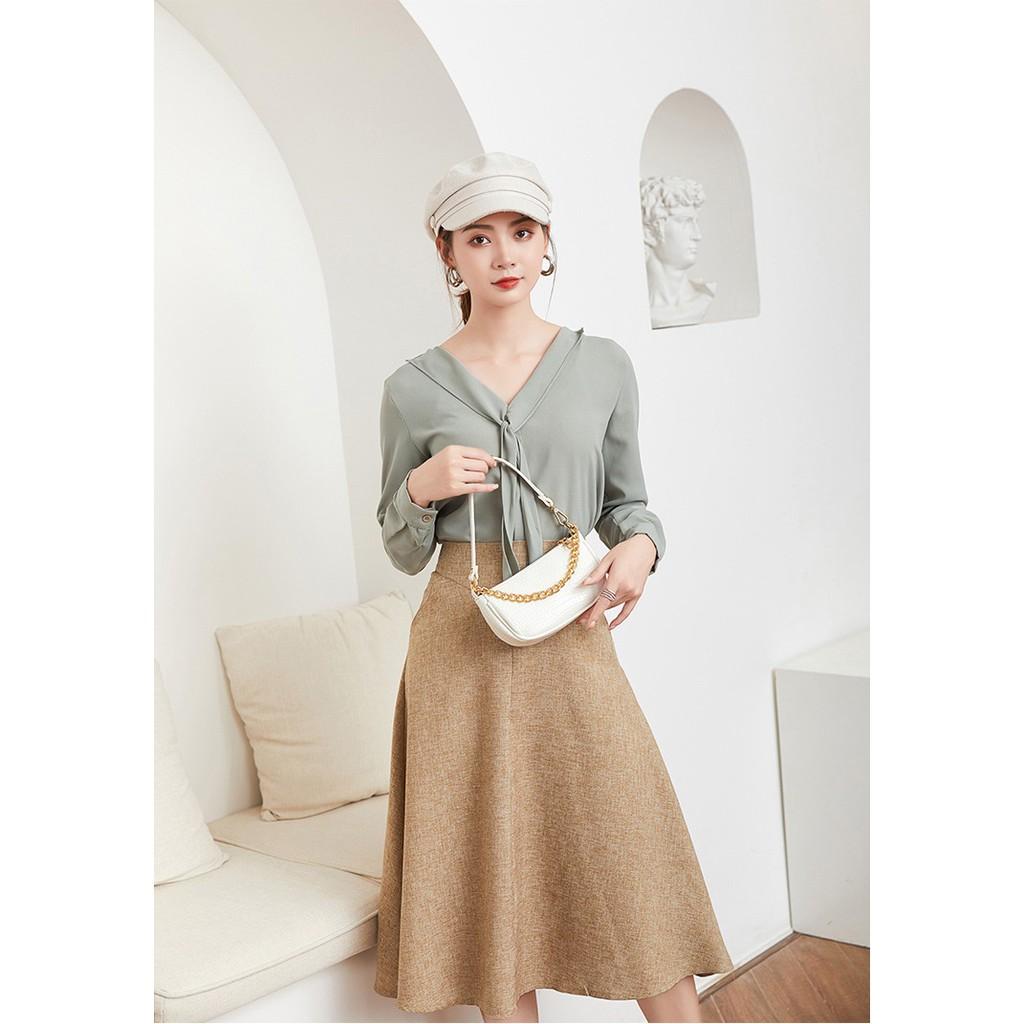 Túi đeo chéo, túi kẹp nách vân cá sấu phối xích vàng thời trang Hàn Quốc KN04