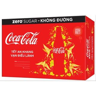 Coupon sản phẩm [Mã GRO1COKE1 giảm 15% đơn 150k] Thùng 24 Lon Nước Giải Khát Không Đường Coca-Cola Zero Phiên Bản TẾT (320mlx24)