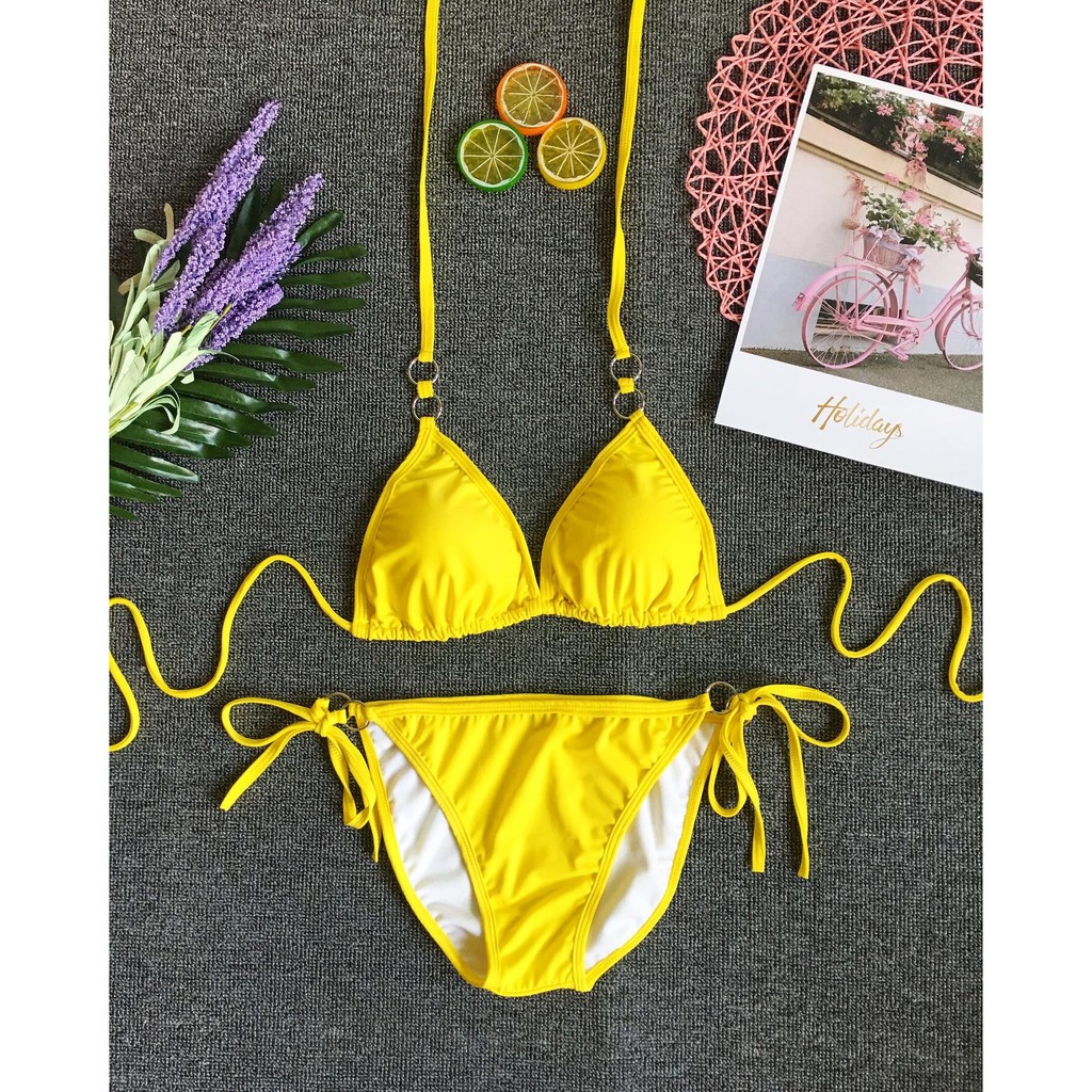 Bikini tam giác phối khoen sexy (6 màu)