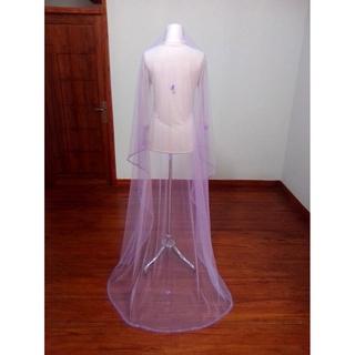 Mạng che mặt cô dâu đính ngọc trai giả màu tím dài 2m thumbnail