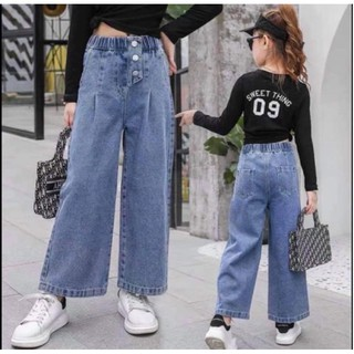 Quần jeans ống rộng 3 nút cho bé (kèm màu thật)
