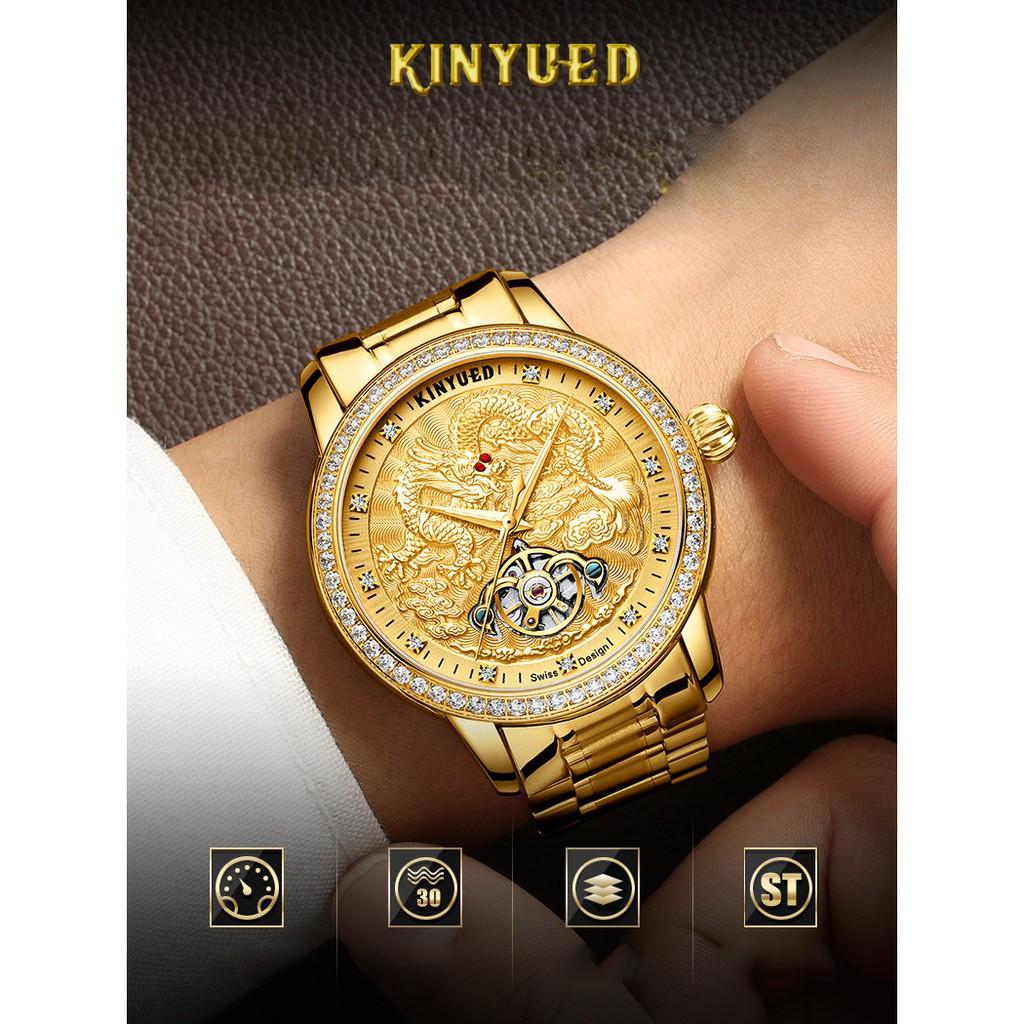Đồng hồ nam Kinyued 1986 JYD-J061 Máy cơ viền đá mặt rồng nổi 3D