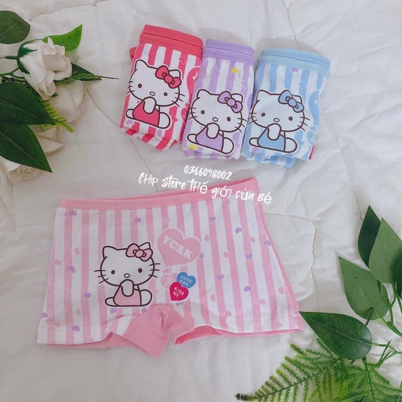 Quần chip , set 4 quần lót đùi họa tiết hoạt hình cho bé gái , quần lót bé gái