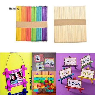 HLBY♣Kids Child Natural Multi-Color Wooden Popsicle Sticks DIY Crafts Puzzle Toy Gift