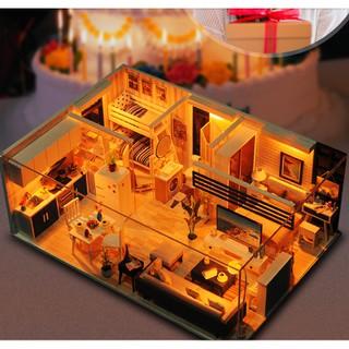 Mô hình nhà gỗ búp bê DIY – Beautiful Time – Ấm áp tình thân gia đình ( có keo dán, che bụi )