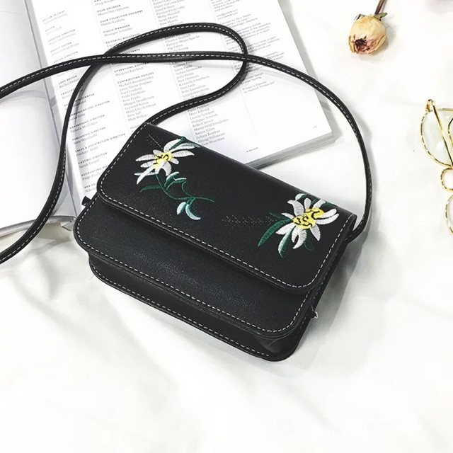 Túi đen thêu hoa hàng Quảng Châu giá rẻ