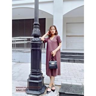[GIẢM GIÁ SỐC] Đầm bầu xinh ,váy bầu thời trang thun dáng suông cổ tim xẻ tà M&M MM129