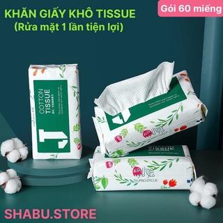 Khăn giấy khô đa năng cotton TISSUE 60 miếng rửa mặt, lau mặt sử dụng 1 lần Công Nghệ Mới thumbnail