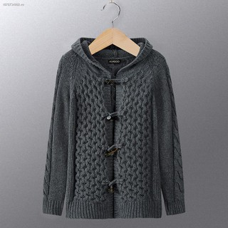 ❅✁Thick needle tiger cardigan sweater autumn horn buckle wool hooded men s casual jacket foreign trade tide 2093