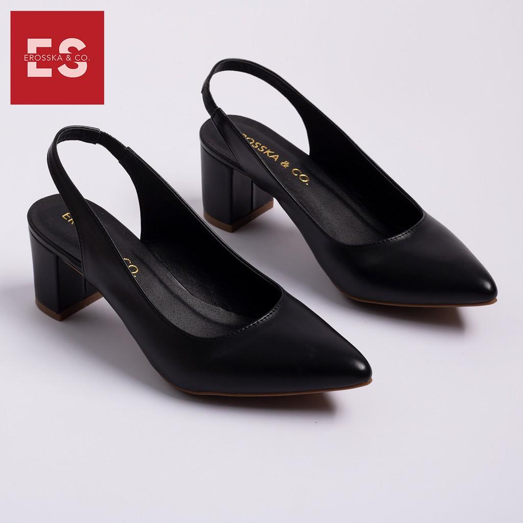 Giày cao gót Erosska thời trang mũi nhọn phối dây hở gót cao 5cm màu đen _EH015