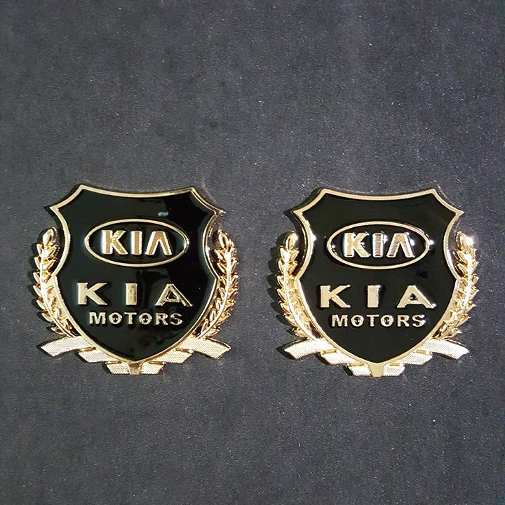 Bộ 2 miếng dán logo kim loại chữ KIA bông lúa