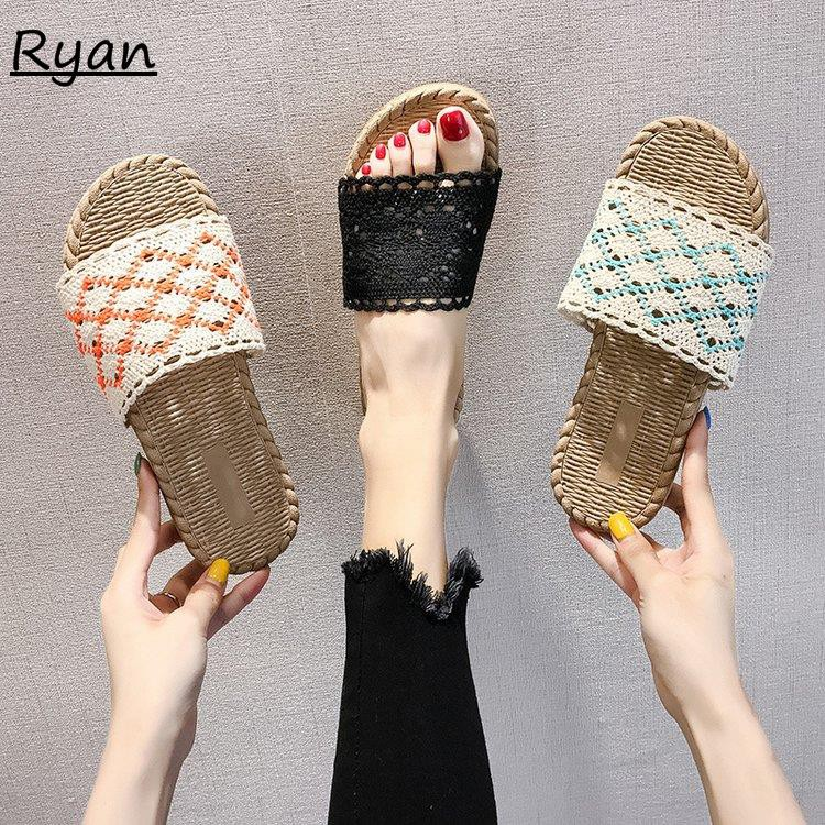 Slippers women wear wild cloth woven beach shoes tide fashion holiday word drag