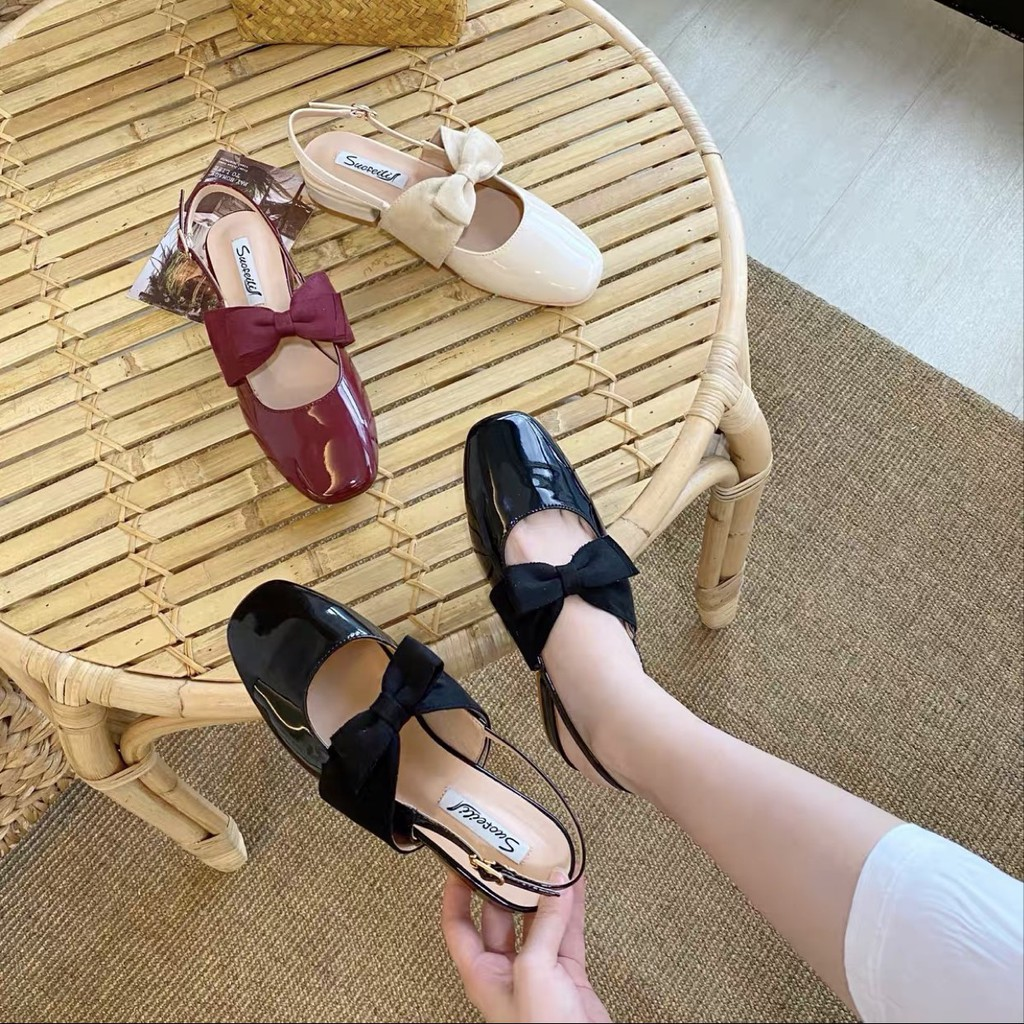 Free ship Giày cao gót / Sandal cao gót 3p thắt nơ bản to cực xinh