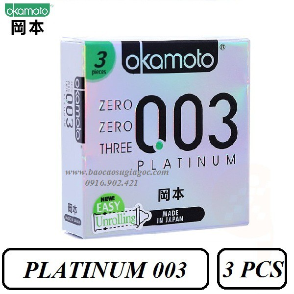 Bao cao su Okamoto Platinum 003 siêu mỏng bóng láng 3pcs - 2898577 , 1268844677 , 322_1268844677 , 137000 , Bao-cao-su-Okamoto-Platinum-003-sieu-mong-bong-lang-3pcs-322_1268844677 , shopee.vn , Bao cao su Okamoto Platinum 003 siêu mỏng bóng láng 3pcs