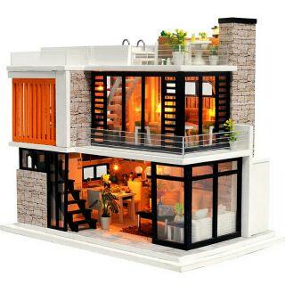 Kèm mica – Mô hình nhà gỗ búp bê dollhouse DIY – K036 Florence