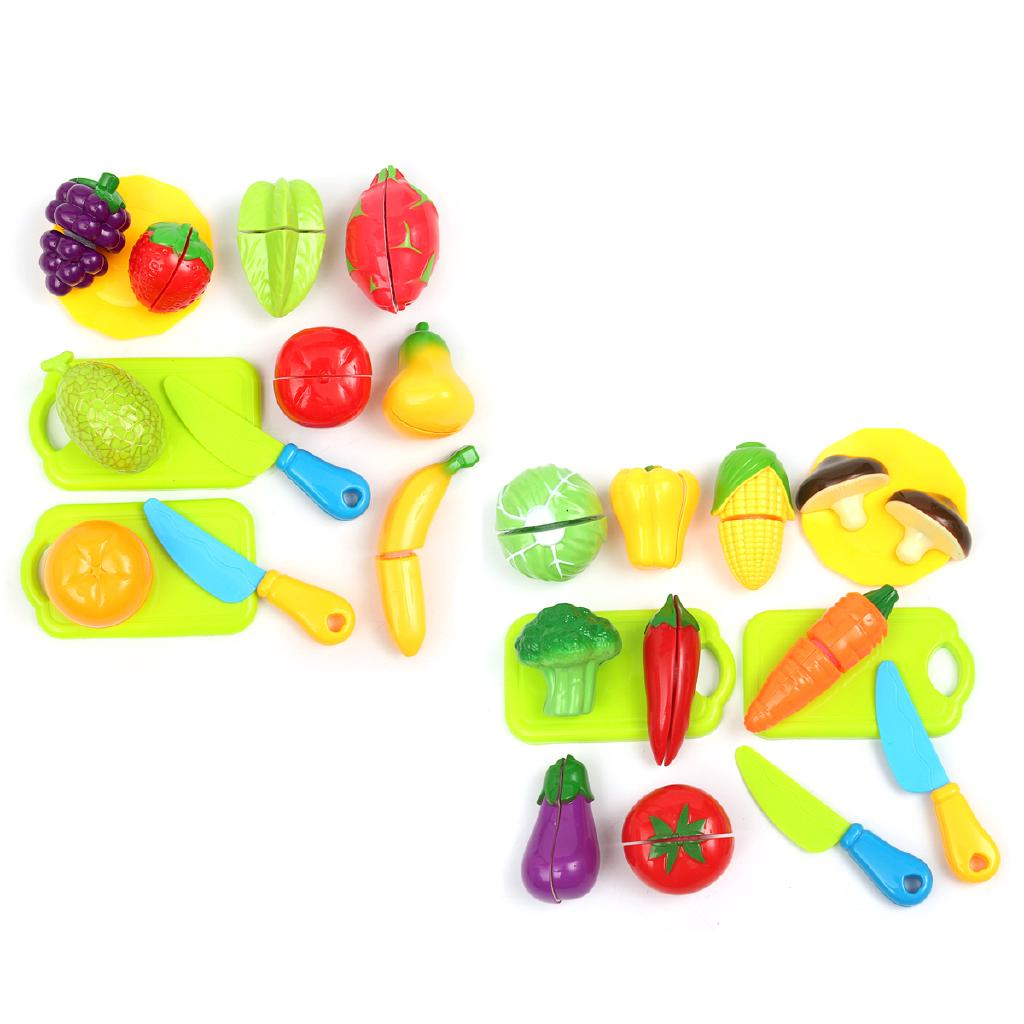 Kids Children Role Play Kitchen Vegetable Fruit Food Cutting Set Educational Toy