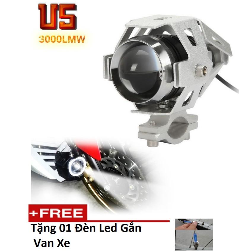 Đèn Led trợ sáng U5 dành cho xe máy TI 585 tặng đèn led gắn van xe M 131