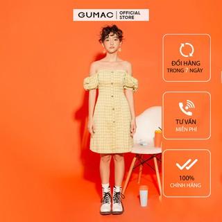 Đầm nữ ôm body GUMAC tay phồng vải caro, đủ size năng động DA1271 thumbnail