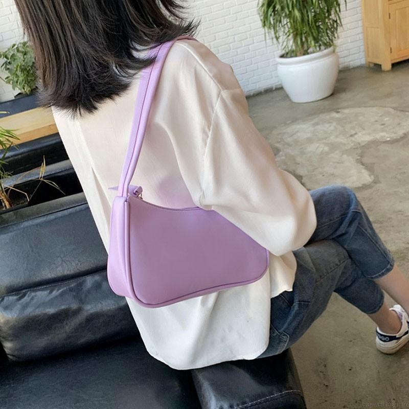 Túi đeo chéo màu trơn phong cách cổ điển cho nữ