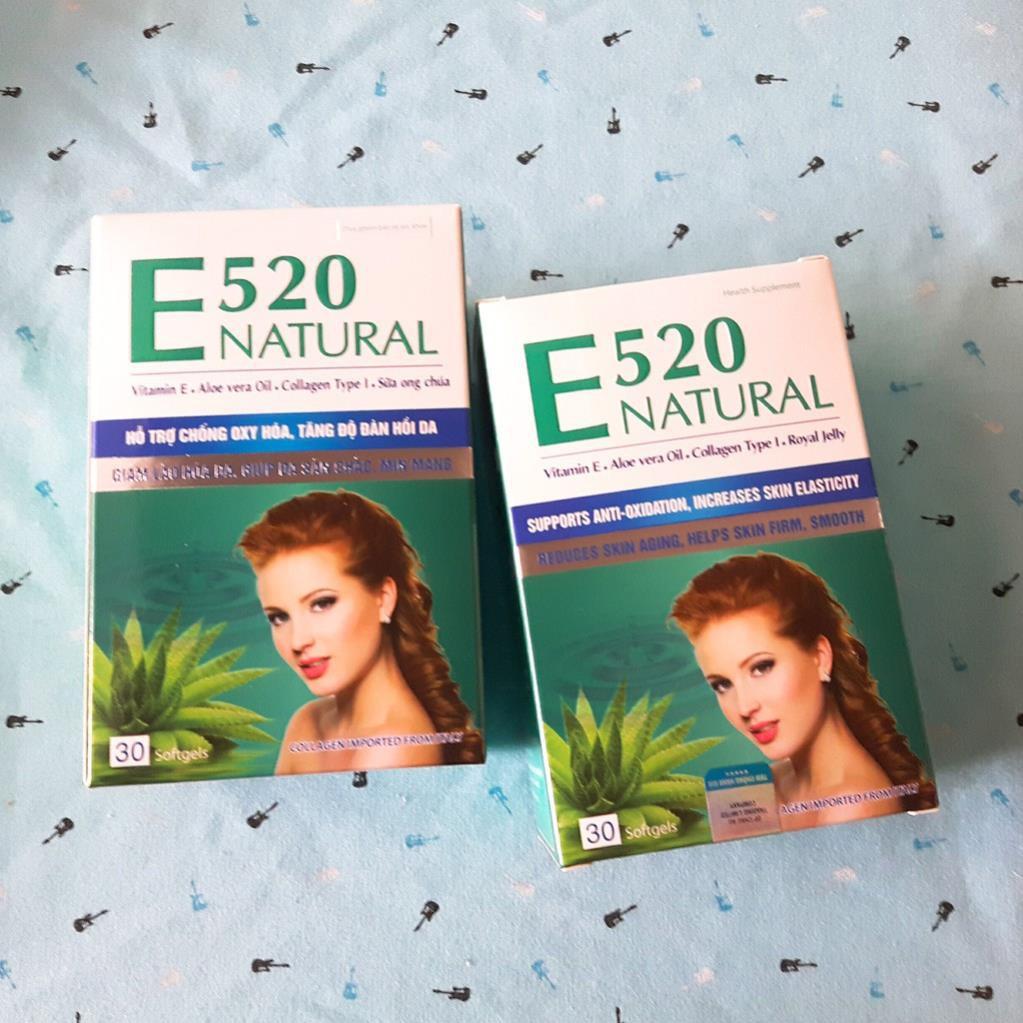 Viên uống Vitamin E 520 Natural hỗ trợ chống Oxy hóa, làm đẹp da hộp 30 viên