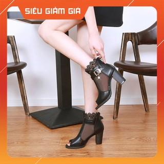Giày boot ⭐ hở mũi ⭐ cao cấp kết hợp lưới hoa 8 phân bao đẹp , bao êm, chất da mềm mại, thiết kế khoá sau
