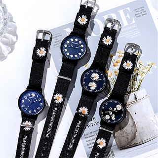 Đồng hồ dây đeo da phối mặt hình hoa cúc xinh xắn dành cho nữ