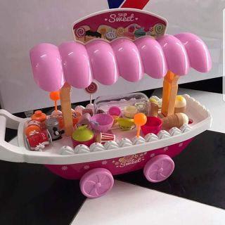 (GIẢM SỐC) Đồ chơi xe đẩy bán hàng 37 chi tiết dùng pin phát nhạc phát sáng có các loại kem và kẹo thiết kế đẹp mắt