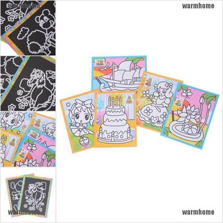 warmhome 5pcs Scratch Art Paper Magic Painting Paper For Kids Educational Drawing Toys thro