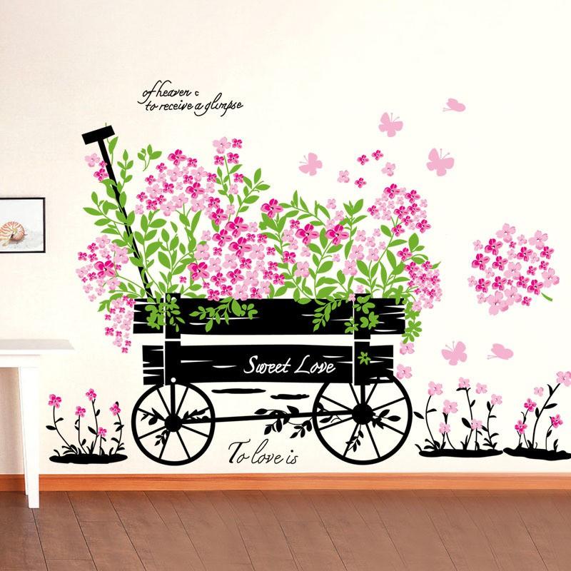 Decal dán tường xe hoa nhỏ