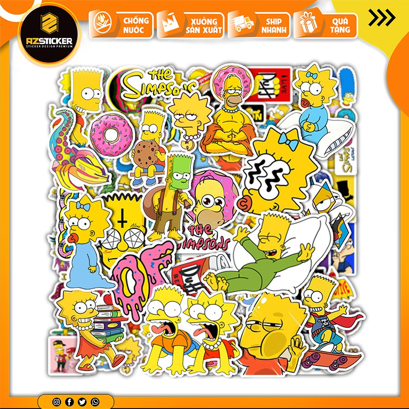 Sticker Simpson   Dán Nón Bảo Hiêm, Điện Thoại, Laptop, Bình Nước...Chống Nước, Chống Bay Màu